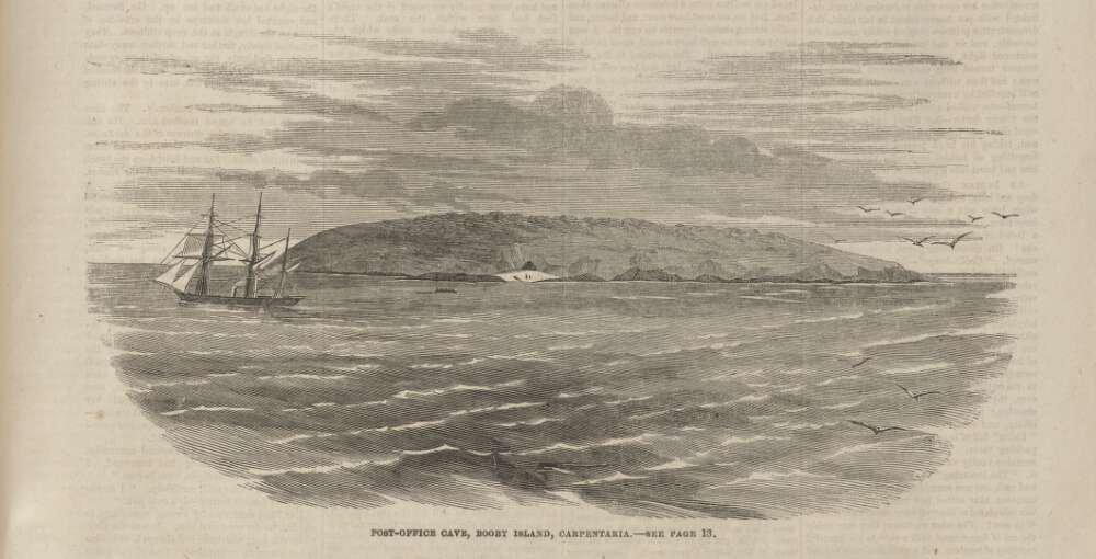 A ilha do correio náutico do tempo das cavernas
